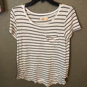 Hollister | Dark Gray/White Stripped Top